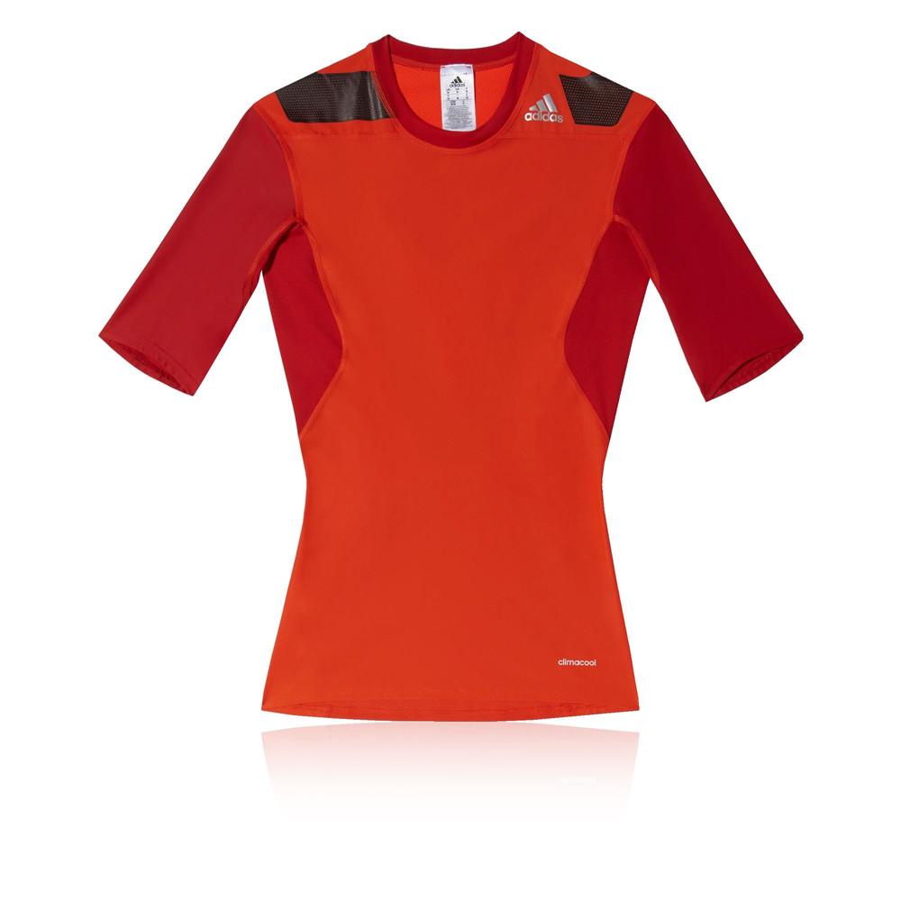 Adidas Techfit Power Mens Orange Red Short Sleeve Sports