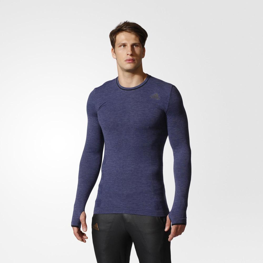adidas adistar primeknit mens blue merino wool long sleeve