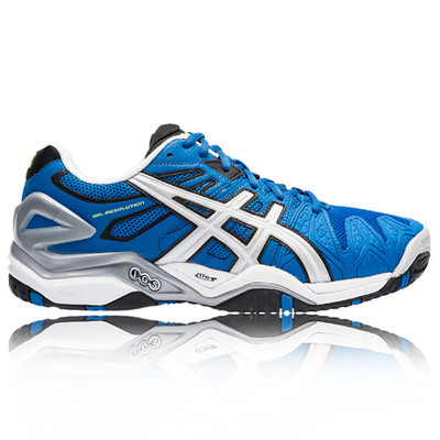 Asics Men's GEL-Resolution 4 Tennis Shoes (Wht/ Nvy/ Sil) from Do