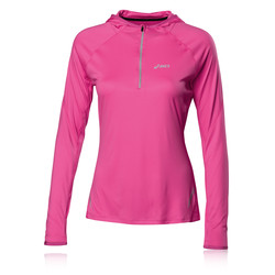 ASICS Women&39s Long Sleeve HalfZip Hooded Running Top