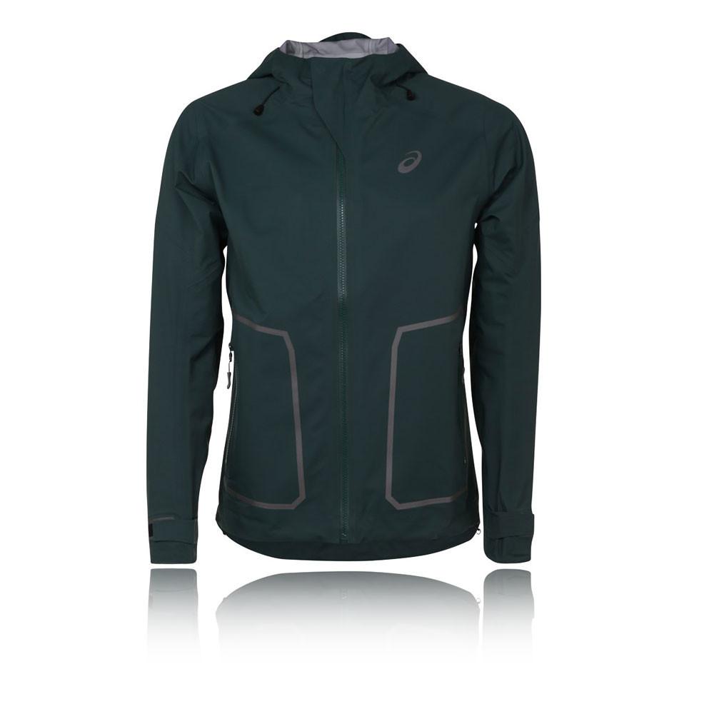 Asics MMS Mens Green Hooded Waterproof Windproof Running ...