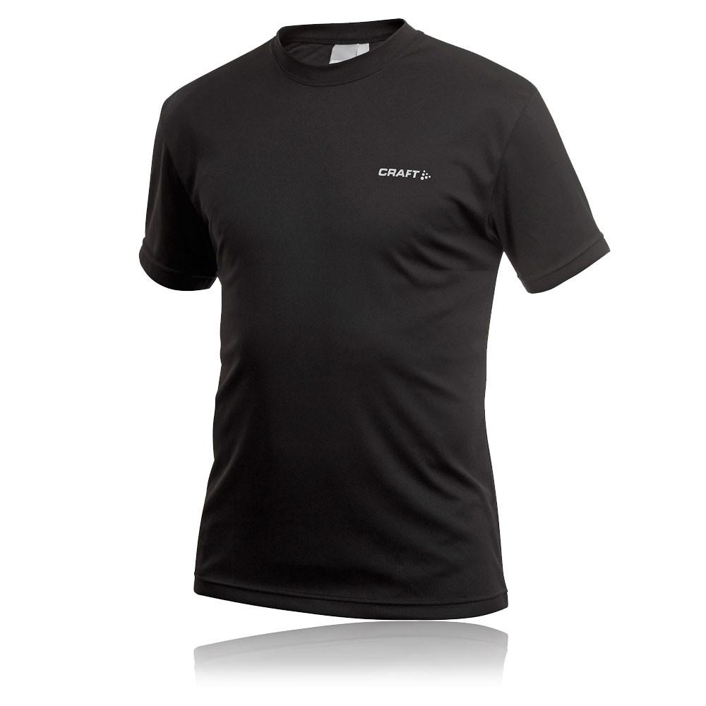 Craft Mens Active Run Black Moisture Wicking Short Sleeve