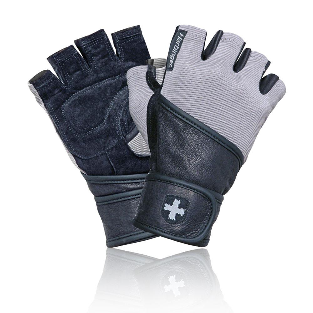 Harbinger Womens Wristwrap Gloves: Harbinger Classic Unisex Grey Black Training Weightlifting