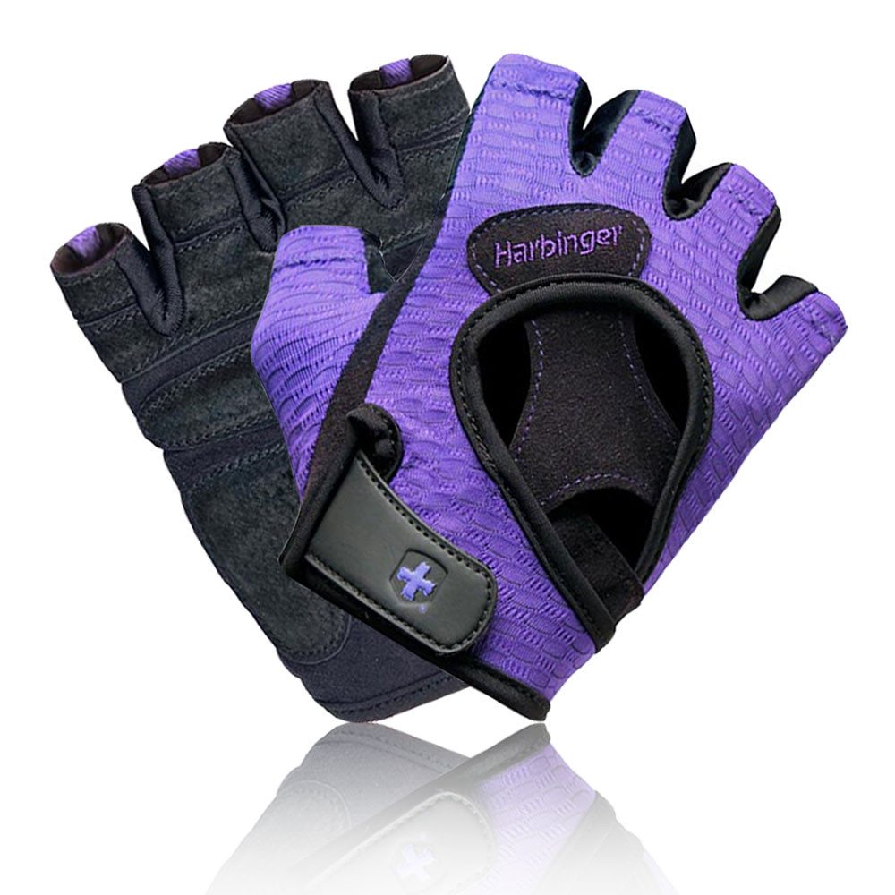Workout Gloves Womens Nike: Harbinger FlexFit Womens Black Purple Fingeerless