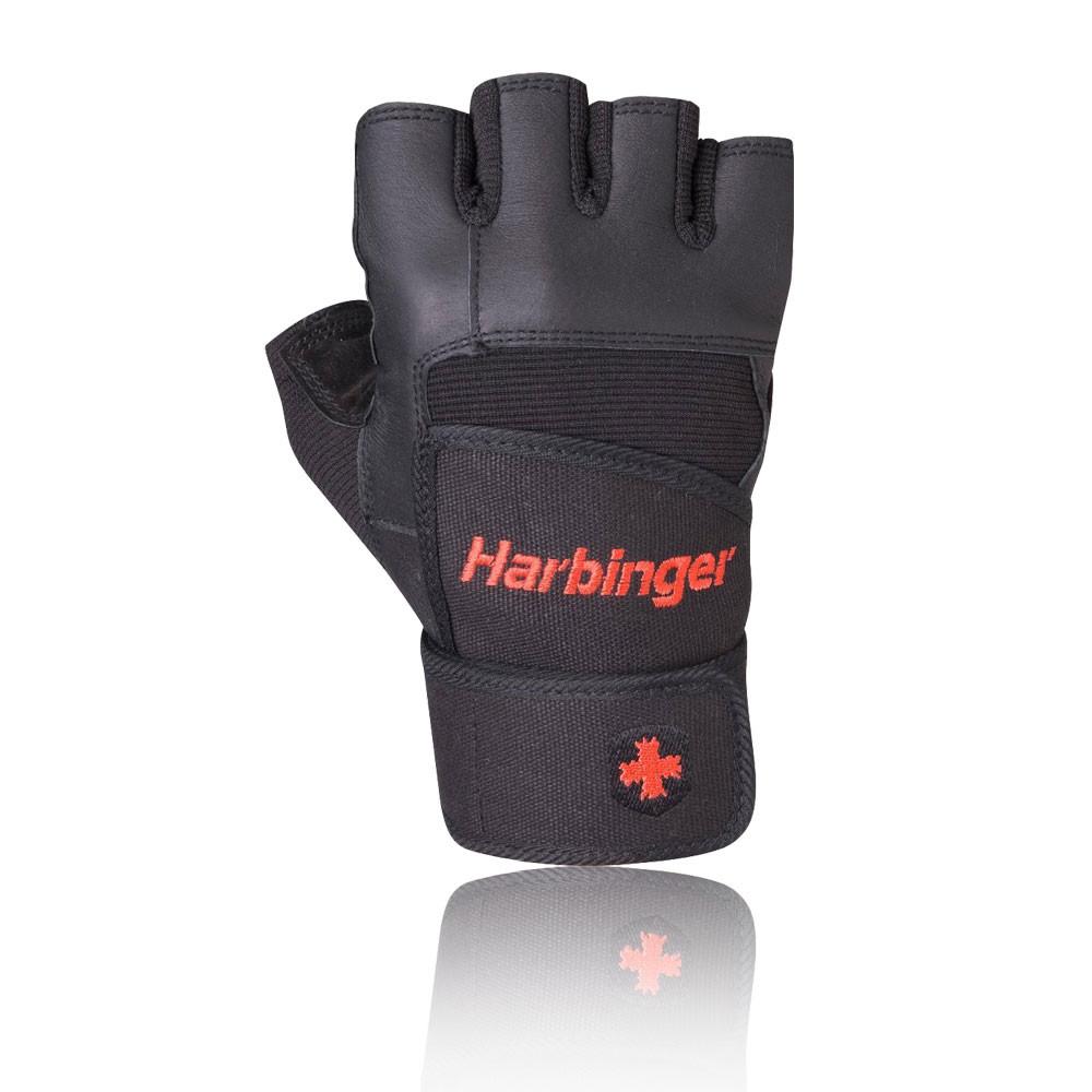 Harbinger Womens Wristwrap Gloves: Harbinger Pro Unisex Black Weightlifting Training Sports