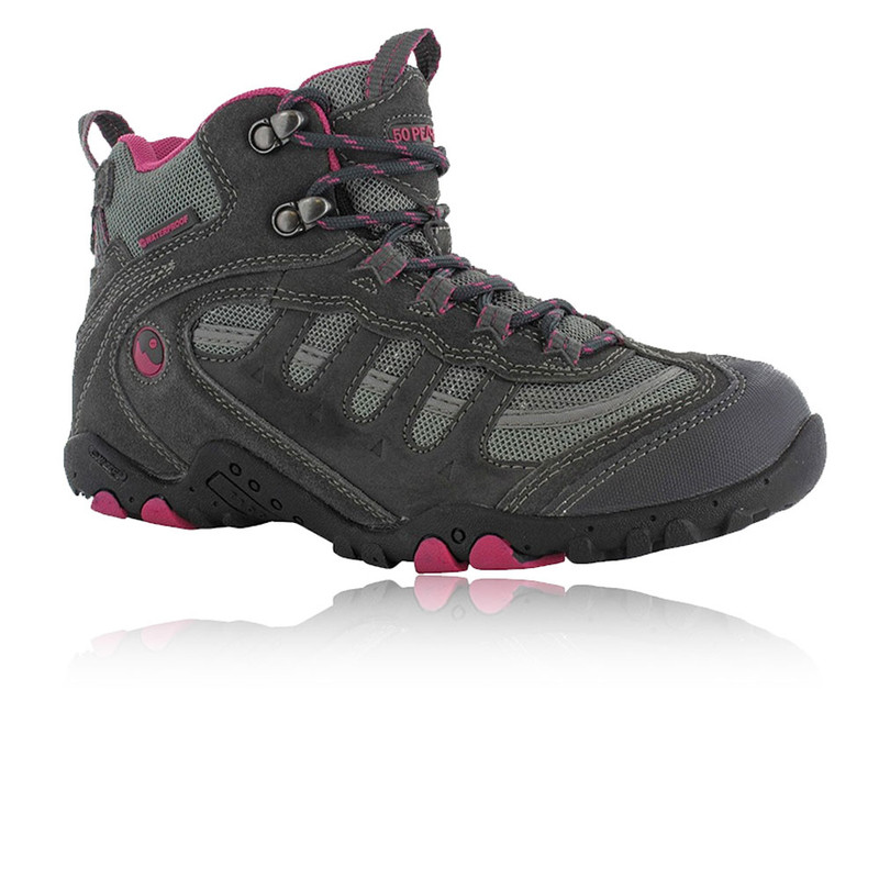 hi tec penrith mid womens pink grey waterproof hiking