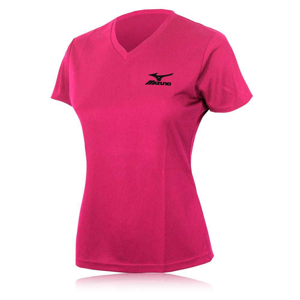 Mizuno womens race pink blindstitch v neck short sleeve for Women s running shirt