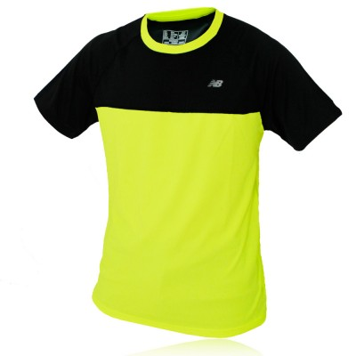 New balance mens short sleeve hi viz reflective running for Hi viz running shirt