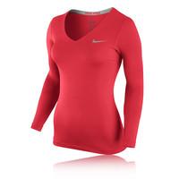 Nike Pro Women's V Neck Long Sleeve Compression Training Top - HO14