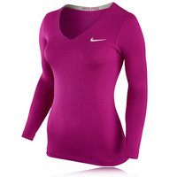 Nike Pro Women's V Neck Long Sleeve Compression Running Top