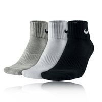 Nike Cushion Quarter 3 Pack Running Socks