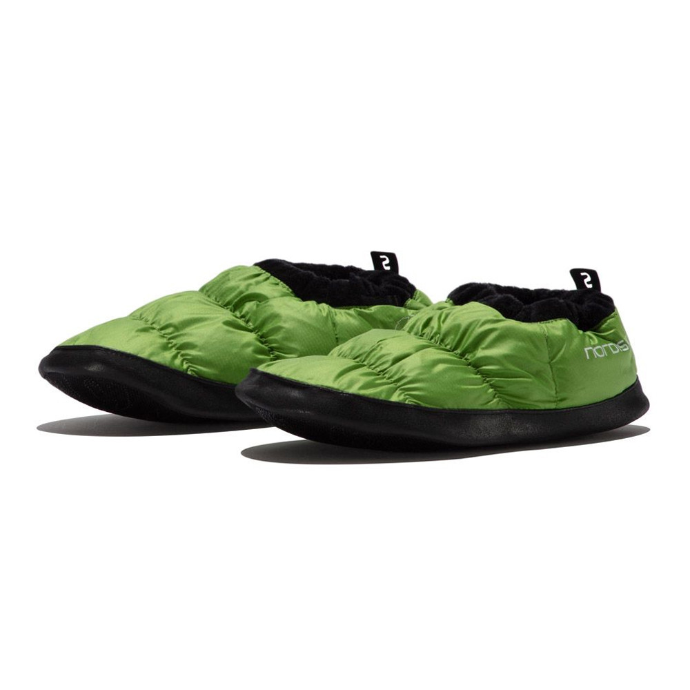 Nordisk Mens Womens Mos Green Warm Camping Anti Slip Secure Fit Duck Down Shoes