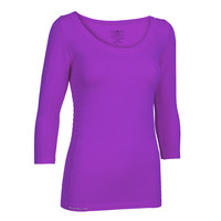 Pure Lime Seamless Women's B-Neck Three Quarter Sleeve Top