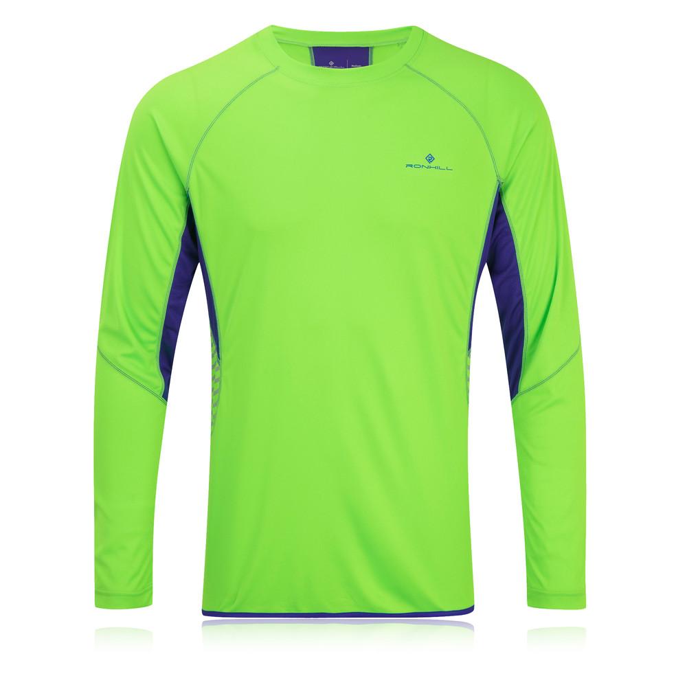 Ronhill mens vizion green hi viz reflective long sleeve for Hi viz running shirt