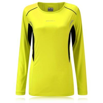 Ron hill womens vizion hi viz reflective yellow long for Hi viz running shirt