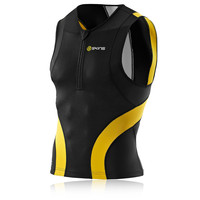 Skins TRI400 Triathlon Sleeveless Half-Zip Compression Top