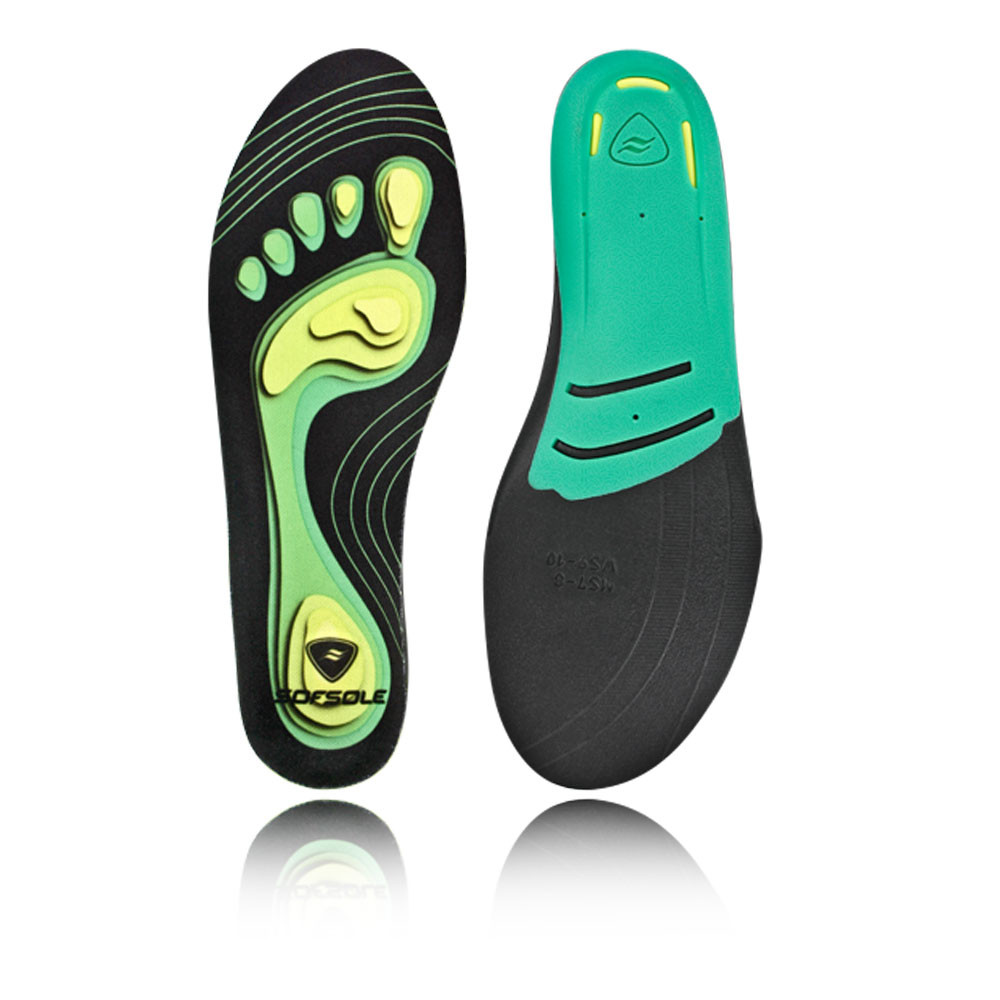 sofsole fit system neutral arch green black running shoe