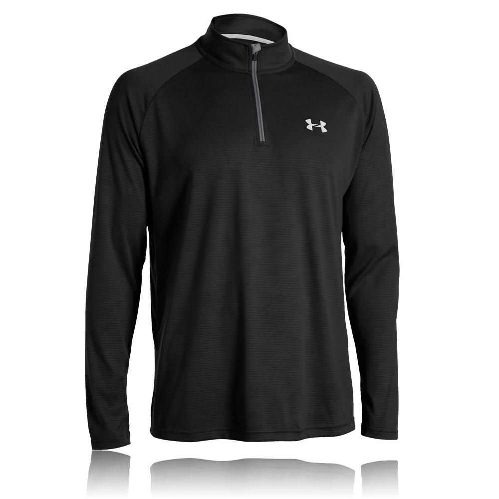 Under armour mens tech novelty black half zip long sleeve for Under armour half sleeve shirt