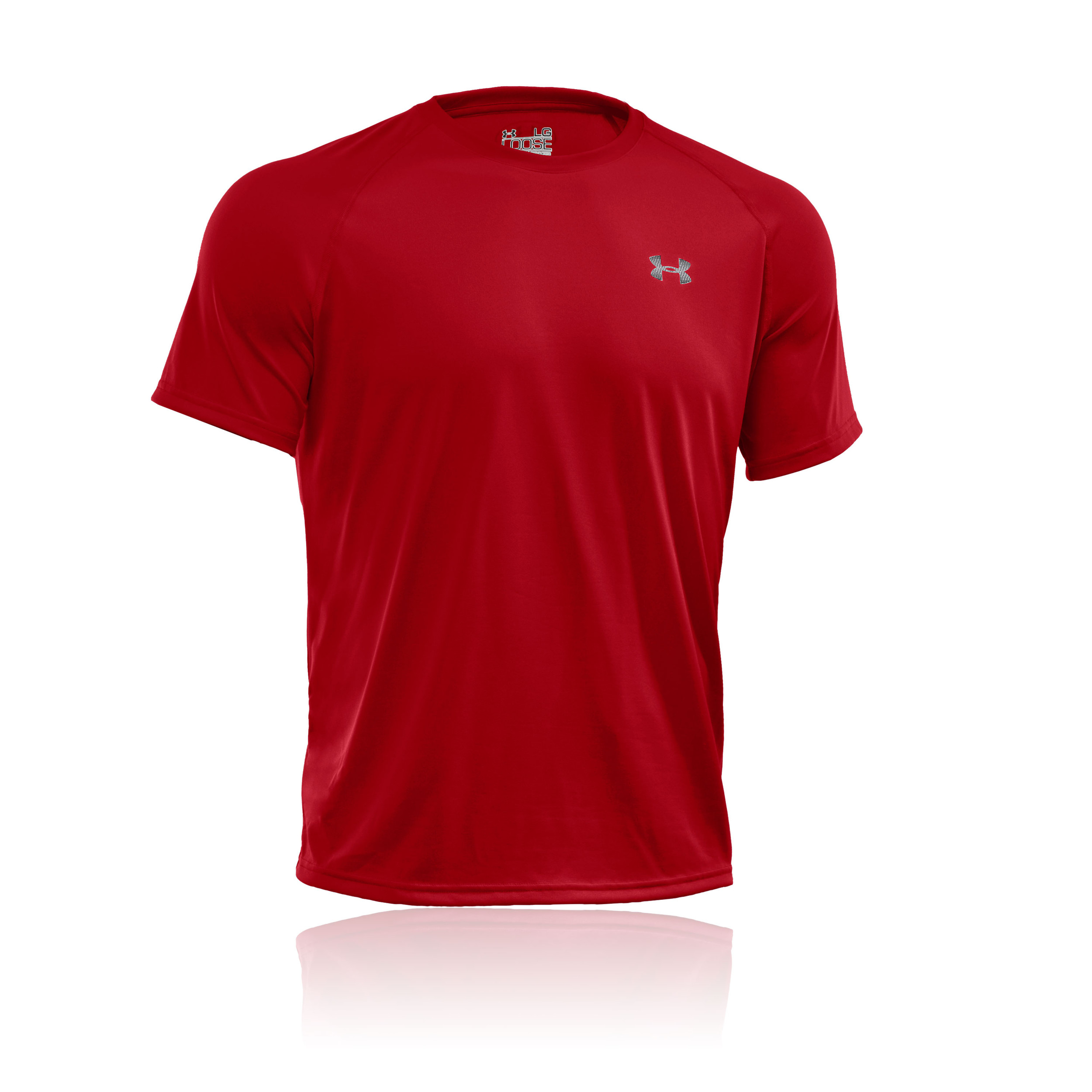 Under armour tech mens red breathable short sleeve sports for Under armour men s tech short sleeve t shirt